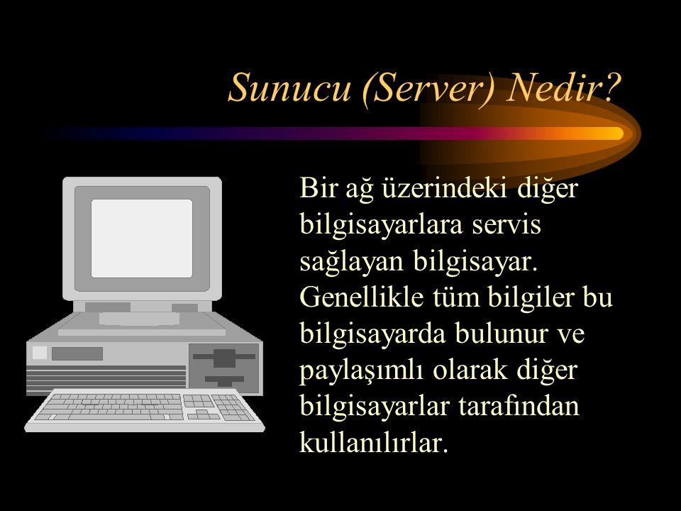 Sunucu (Server) Nedir. Bir ağ üzerindeki diğer bilgisayarlara servis sağlayan bilgisayar.