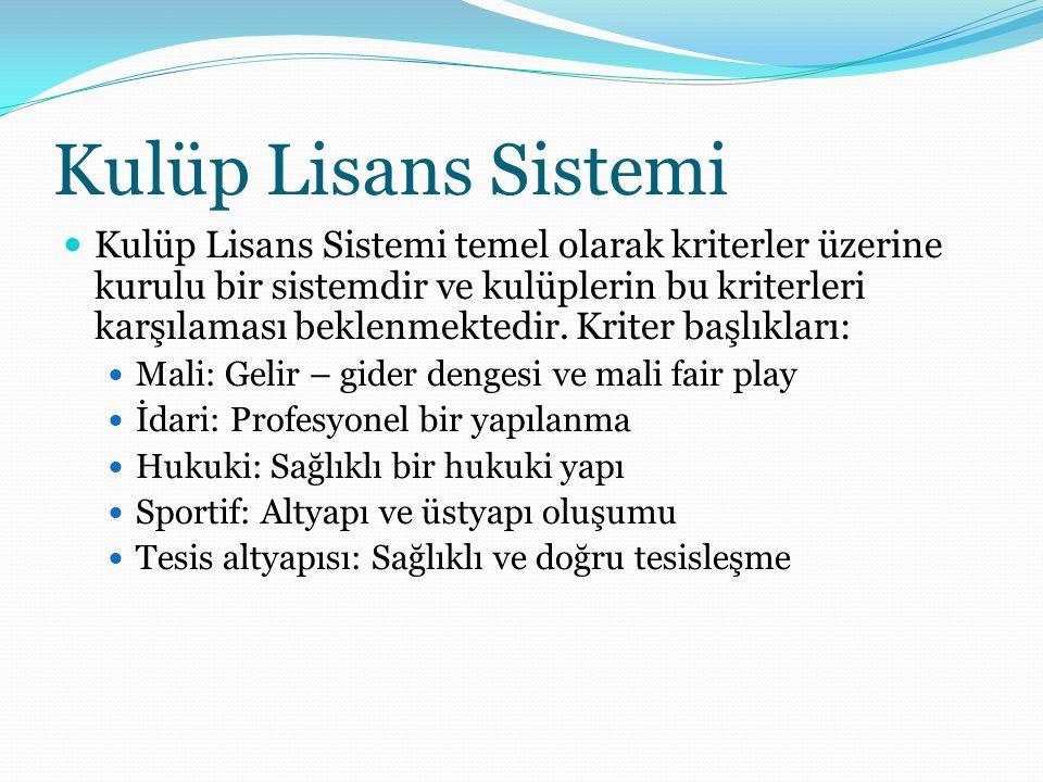 Kulüp Lisans Sistemi Kulüp Lisans Sistemi temel olarak kriterler üzerine kurulu bir sistemdir ve kulüplerin bu kriterleri karşılaması beklenmektedir.