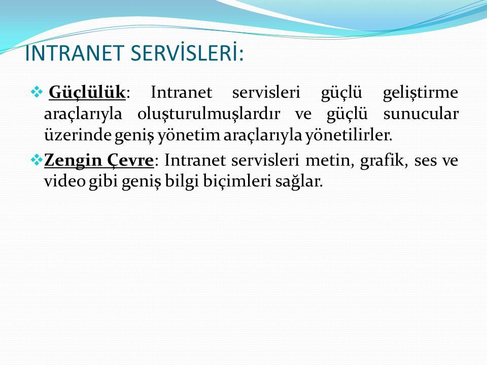 INTRANET SERVİS TİPLERİ: Intranetler geniş bir uygulama ve servis ağını desteklerler.