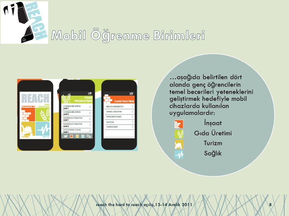 …aşa ğ ıda belirtilen dört alanda genç ö ğ rencilerin temel becerileri yeteneklerini geliştirmek hedefiyle mobil cihazlarda kullanılan uygulamalardır: İ nşaat Gıda Üretimi Turizm Sa ğ lık reach the hard to reach açılış,13-14 Aralık 20118