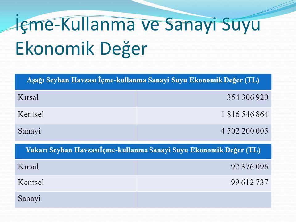 Aşağı Seyhan Havzası İçme-kullanma Sanayi Suyu Ekonomik Değer (TL) Kırsal354 306 920 Kentsel1 816 546 864 Sanayi4 502 200 005 Yukarı Seyhan Havzasıİçm