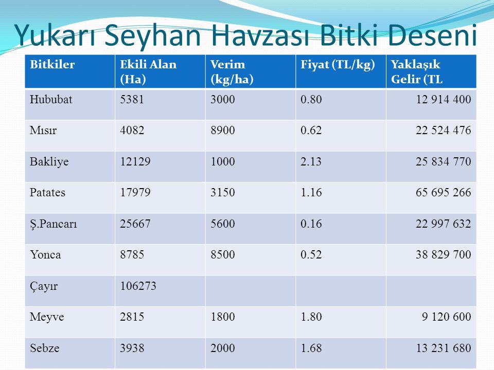 Yukarı Seyhan Havzası Bitki Deseni BitkilerEkili Alan (Ha) Verim (kg/ha) Fiyat (TL/kg)Yaklaşık Gelir (TL Hububat538130000.8012 914 400 Mısır408289000.