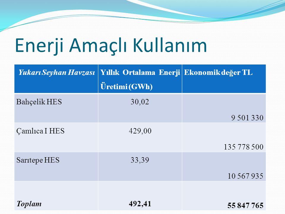 Yukarı Seyhan Havzası Yıllık Ortalama Enerji Üretimi (GWh) Ekonomik değer TL Bahçelik HES30,02 9 501 330 Çamlıca I HES429,00 135 778 500 Sarıtepe HES3