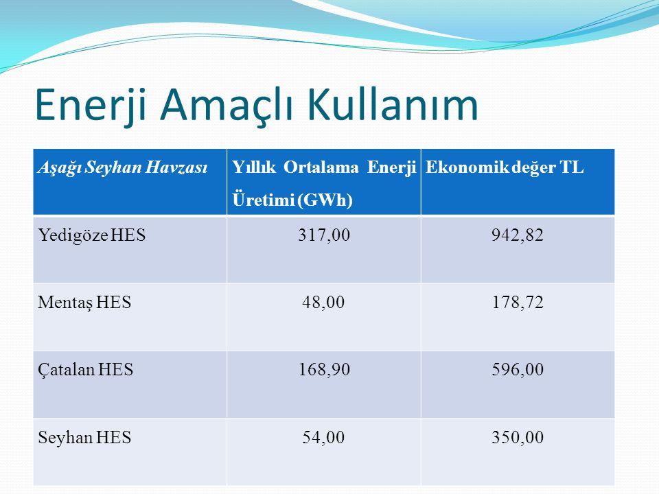 Enerji Amaçlı Kullanım Aşağı Seyhan Havzası Yıllık Ortalama Enerji Üretimi (GWh) Ekonomik değer TL Yedigöze HES317,00942,82 Mentaş HES48,00178,72 Çata