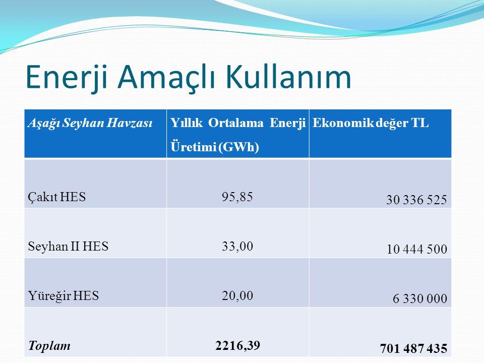 Enerji Amaçlı Kullanım Aşağı Seyhan Havzası Yıllık Ortalama Enerji Üretimi (GWh) Ekonomik değer TL Çakıt HES95,85 30 336 525 Seyhan II HES33,00 10 444