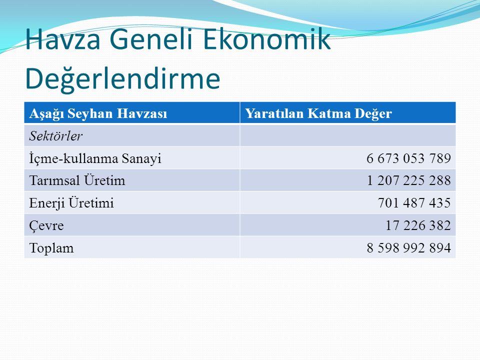 Havza Geneli Ekonomik Değerlendirme Aşağı Seyhan HavzasıYaratılan Katma Değer Sektörler İçme-kullanma Sanayi6 673 053 789 Tarımsal Üretim1 207 225 288