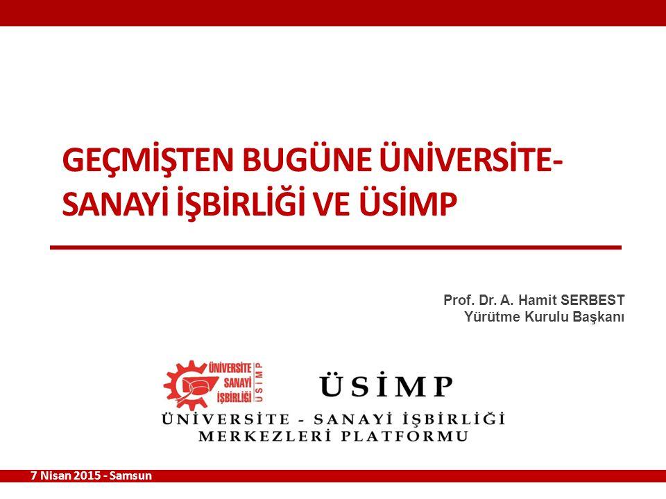 GEÇMİŞTEN BUGÜNE ÜNİVERSİTE- SANAYİ İŞBİRLİĞİ VE ÜSİMP 7 Nisan 2015 - Samsun Prof.
