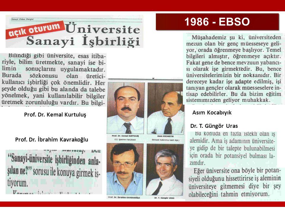 1986 - EBSO Prof. Dr. Kemal Kurtuluş Prof. Dr. İbrahim Kavrakoğlu Asım Kocabıyık Dr. T. Güngör Uras