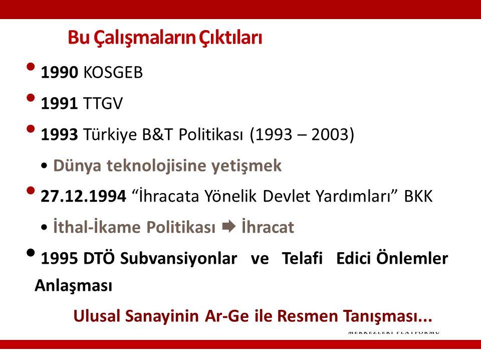 Bu Çalışmaların Çıktıları 1990 KOSGEB 1991 TTGV 1993 Türkiye B&T Politikası (1993 – 2003) Dünya teknolojisine yetişmek 27.12.1994 İhracata Yönelik Devlet Yardımları BKK İthal-İkame Politikası  İhracat 1995 DTÖ Subvansiyonlar ve Telafi Edici Önlemler Anlaşması Ulusal Sanayinin Ar-Ge ile Resmen Tanışması...