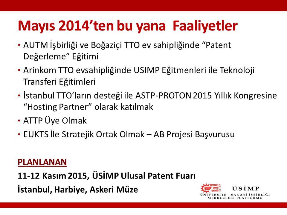 Mayıs 2014'ten bu yana Faaliyetler AUTM İşbirliği ve Boğaziçi TTO ev sahipliğinde Patent Değerleme Eğitimi Arinkom TTO evsahipliğinde USIMP Eğitmenleri ile Teknoloji Transferi Eğitimleri İstanbul TTO'ların desteği ile ASTP-PROTON 2015 Yıllık Kongresine Hosting Partner olarak katılmak ATTP Üye Olmak EUKTS İle Stratejik Ortak Olmak – AB Projesi Başvurusu PLANLANAN 11-12 Kasım 2015, ÜSİMP Ulusal Patent Fuarı İstanbul, Harbiye, Askeri Müze