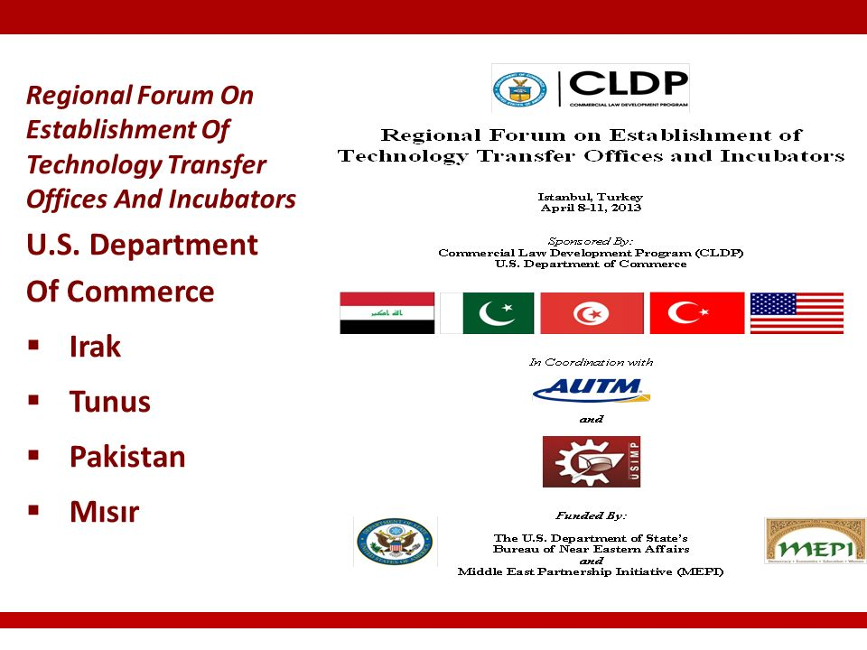 Regional Forum On Establishment Of Technology Transfer Offices And Incubators U.S.