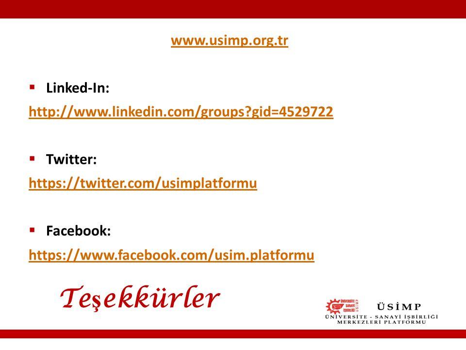 Te ş ekkürler www.usimp.org.tr  Linked-In: http://www.linkedin.com/groups gid=4529722  Twitter: https://twitter.com/usimplatformu  Facebook: https://www.facebook.com/usim.platformu