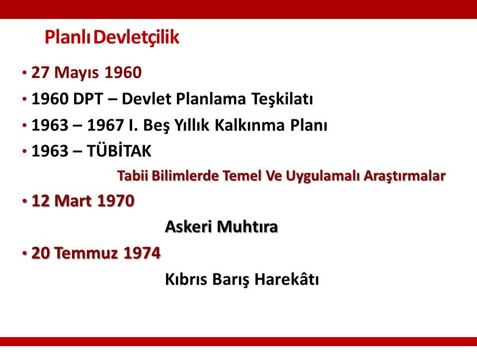 Planlı Devletçilik 27 Mayıs 1960 1960 DPT – Devlet Planlama Teşkilatı 1963 – 1967 I.