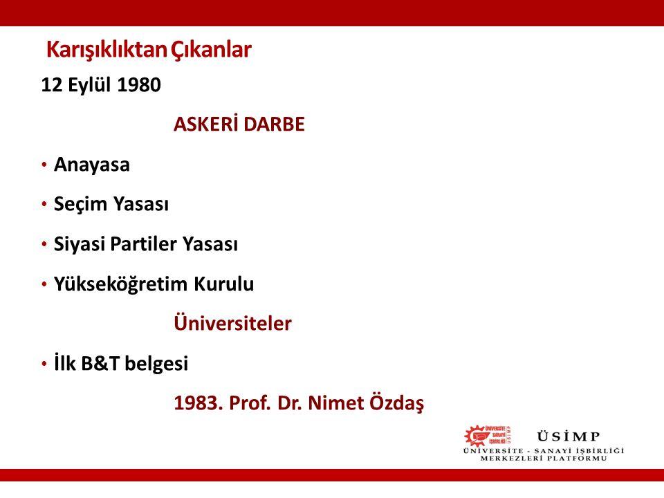 Karışıklıktan Çıkanlar 12 Eylül 1980 ASKERİ DARBE Anayasa Seçim Yasası Siyasi Partiler Yasası Yükseköğretim Kurulu Üniversiteler İlk B&T belgesi 1983.