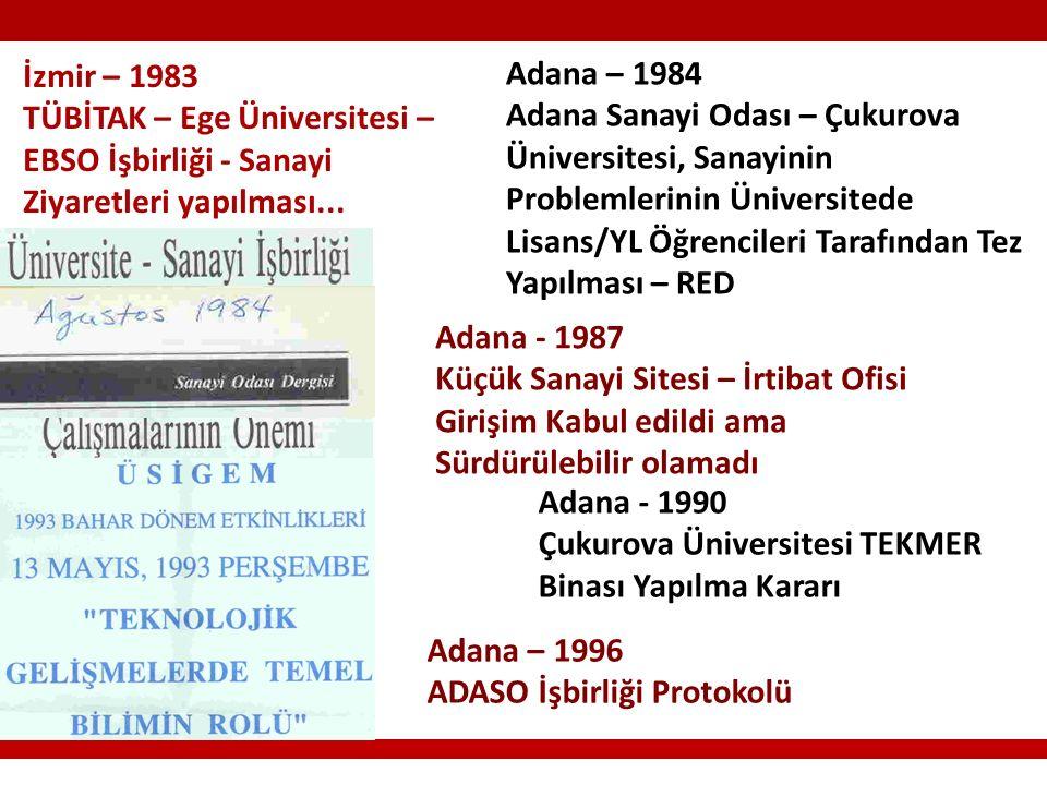 İzmir – 1983 TÜBİTAK – Ege Üniversitesi – EBSO İşbirliği - Sanayi Ziyaretleri yapılması...