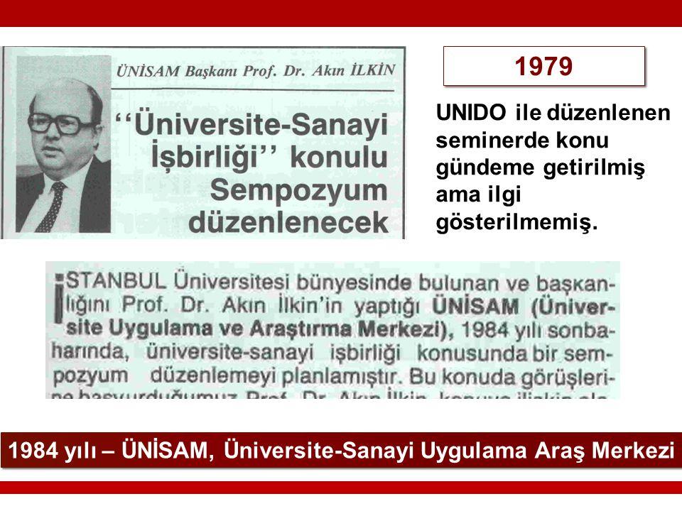 1984 yılı – ÜNİSAM, Üniversite-Sanayi Uygulama Araş Merkezi 1979 UNIDO ile düzenlenen seminerde konu gündeme getirilmiş ama ilgi gösterilmemiş.