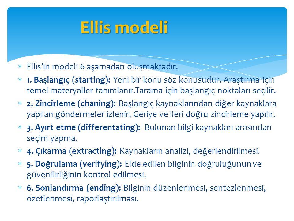  Ellis'in modeli 6 aşamadan oluşmaktadır.  1. Başlangıç (starting): Yeni bir konu söz konusudur. Araştırma için temel materyaller tanımlanır.Tarama