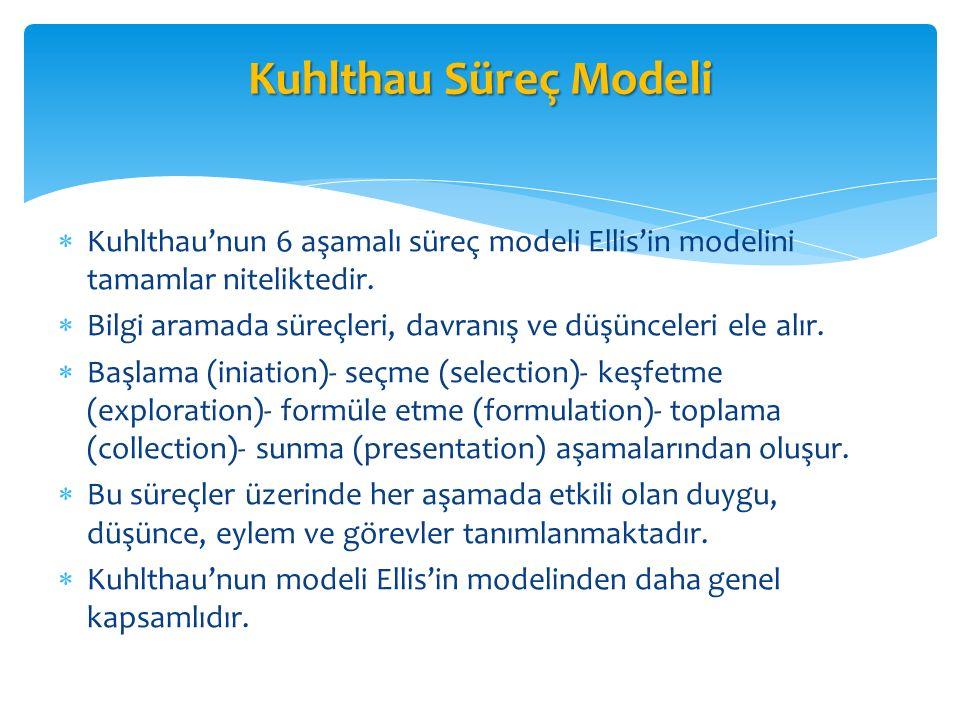  Kuhlthau'nun 6 aşamalı süreç modeli Ellis'in modelini tamamlar niteliktedir.  Bilgi aramada süreçleri, davranış ve düşünceleri ele alır.  Başlama