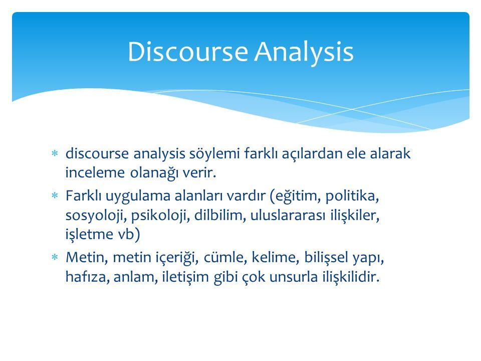  discourse analysis söylemi farklı açılardan ele alarak inceleme olanağı verir.  Farklı uygulama alanları vardır (eğitim, politika, sosyoloji, psiko