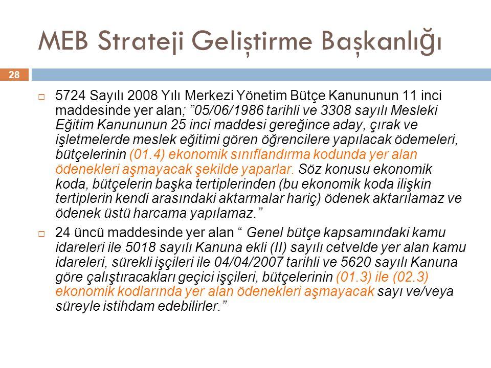 28 MEB Strateji Geliştirme Başkanlı ğ ı  5724 Sayılı 2008 Yılı Merkezi Yönetim Bütçe Kanununun 11 inci maddesinde yer alan; 05/06/1986 tarihli ve 3308 sayılı Mesleki Eğitim Kanununun 25 inci maddesi gereğince aday, çırak ve işletmelerde meslek eğitimi gören öğrencilere yapılacak ödemeleri, bütçelerinin (01.4) ekonomik sınıflandırma kodunda yer alan ödenekleri aşmayacak şekilde yaparlar.