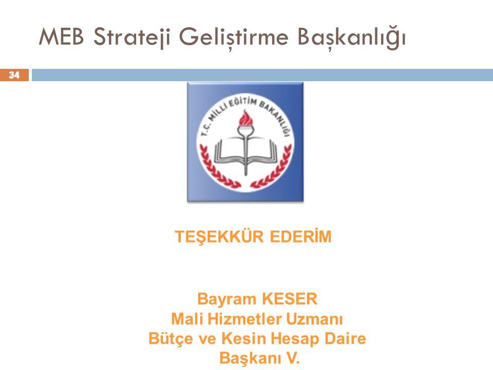 34 MEB Strateji Geliştirme Başkanlı ğ ı 34 Bayram KESER Mali Hizmetler Uzmanı Bütçe ve Kesin Hesap Daire Başkanı V.