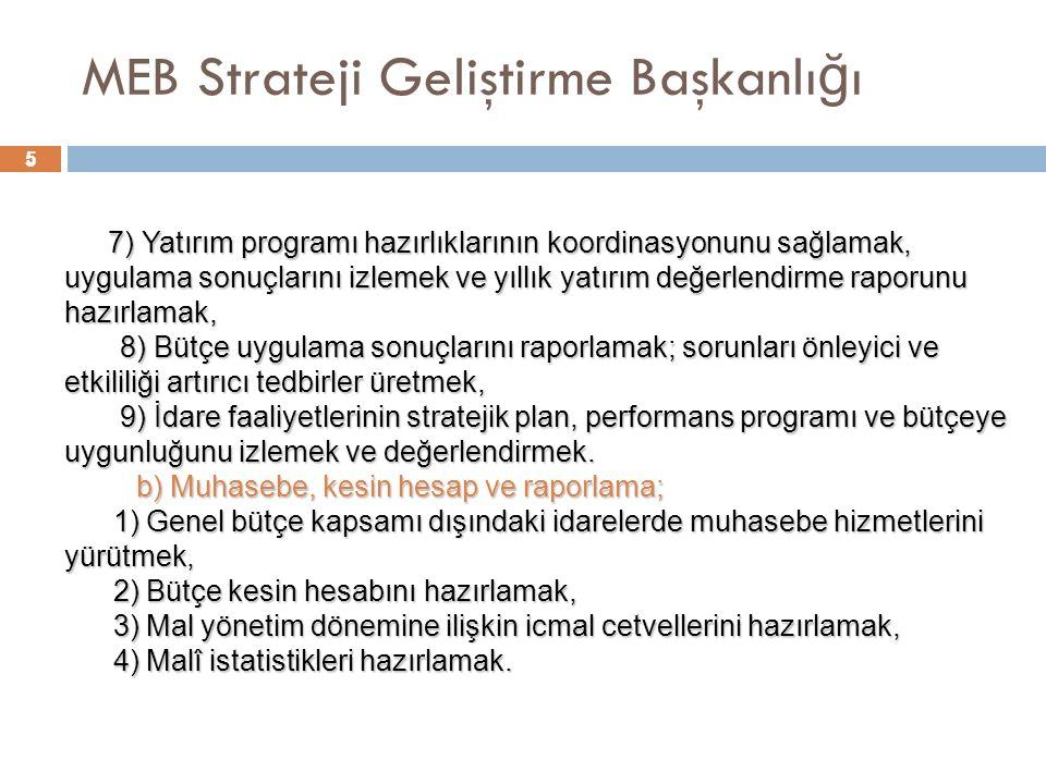 5 MEB Strateji Geliştirme Başkanlı ğ ı 5 7) Yatırım programı hazırlıklarının koordinasyonunu sağlamak, uygulama sonuçlarını izlemek ve yıllık yatırım değerlendirme raporunu hazırlamak, 8) Bütçe uygulama sonuçlarını raporlamak; sorunları önleyici ve etkililiği artırıcı tedbirler üretmek, 8) Bütçe uygulama sonuçlarını raporlamak; sorunları önleyici ve etkililiği artırıcı tedbirler üretmek, 9) İdare faaliyetlerinin stratejik plan, performans programı ve bütçeye uygunluğunu izlemek ve değerlendirmek.
