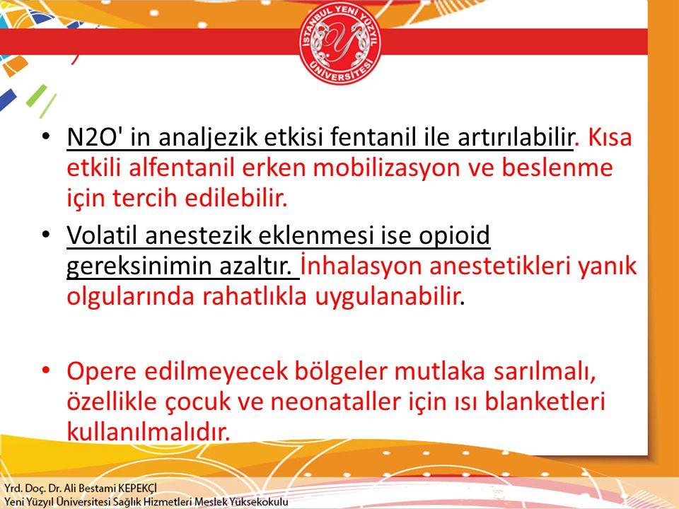 N2O' in analjezik etkisi fentanil ile artırılabilir. Kısa etkili alfentanil erken mobilizasyon ve beslenme için tercih edilebilir. Volatil anestezik e