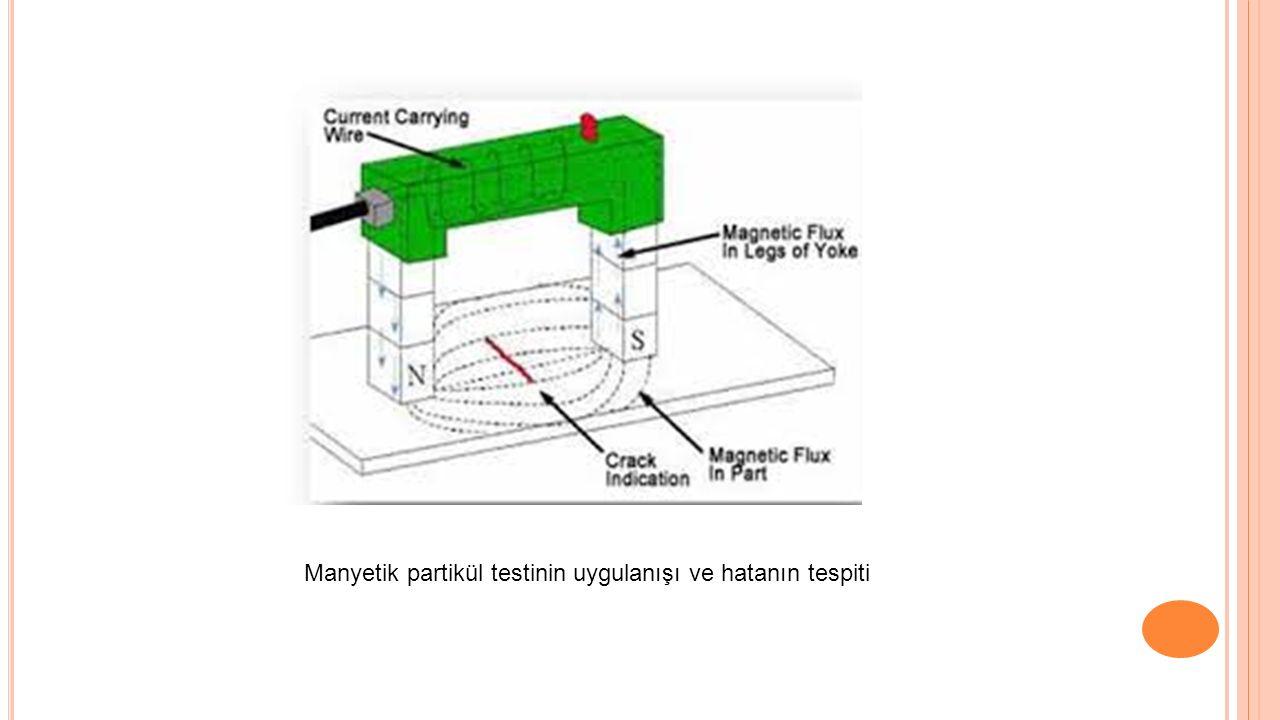 Manyetik partikül testinin uygulanışı ve hatanın tespiti