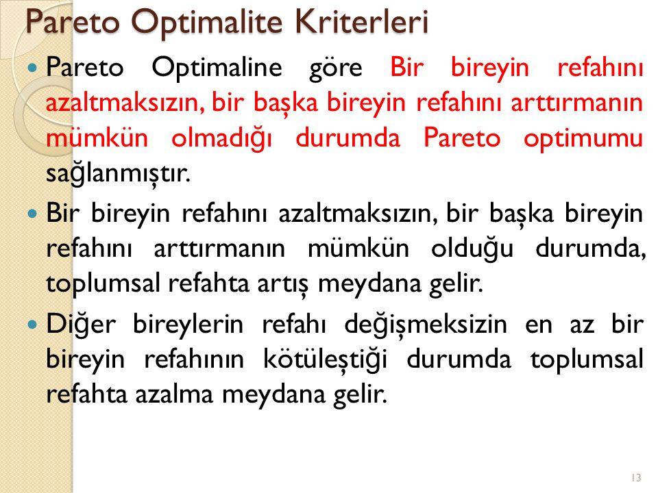 Pareto Optimalite Kriterleri Pareto Optimaline göre Bir bireyin refahını azaltmaksızın, bir başka bireyin refahını arttırmanın mümkün olmadı ğ ı durum