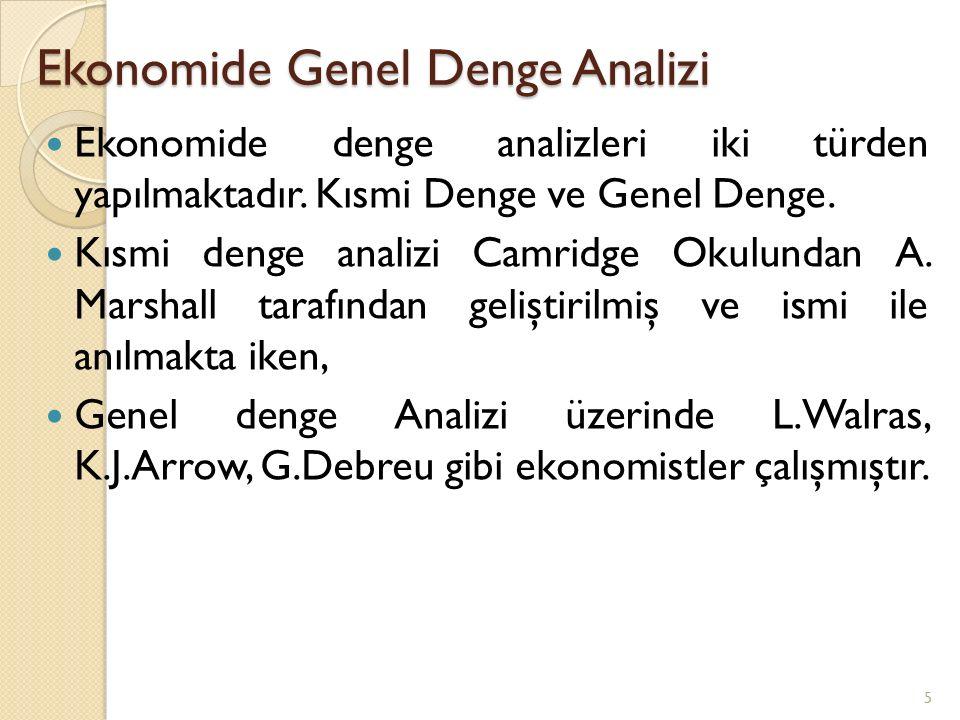 Ekonomide Genel Denge Analizi Ekonomide denge analizleri iki türden yapılmaktadır. Kısmi Denge ve Genel Denge. Kısmi denge analizi Camridge Okulundan