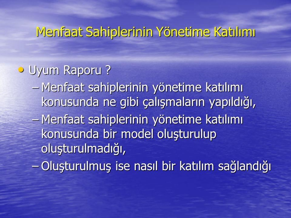 Menfaat Sahiplerinin Yönetime Katılımı Uyum Raporu .