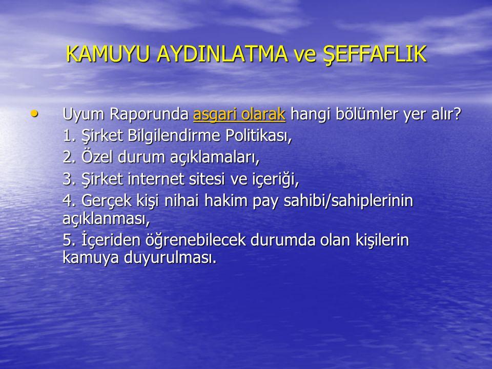 KAMUYU AYDINLATMA ve ŞEFFAFLIK Uyum Raporunda asgari olarak hangi bölümler yer alır.
