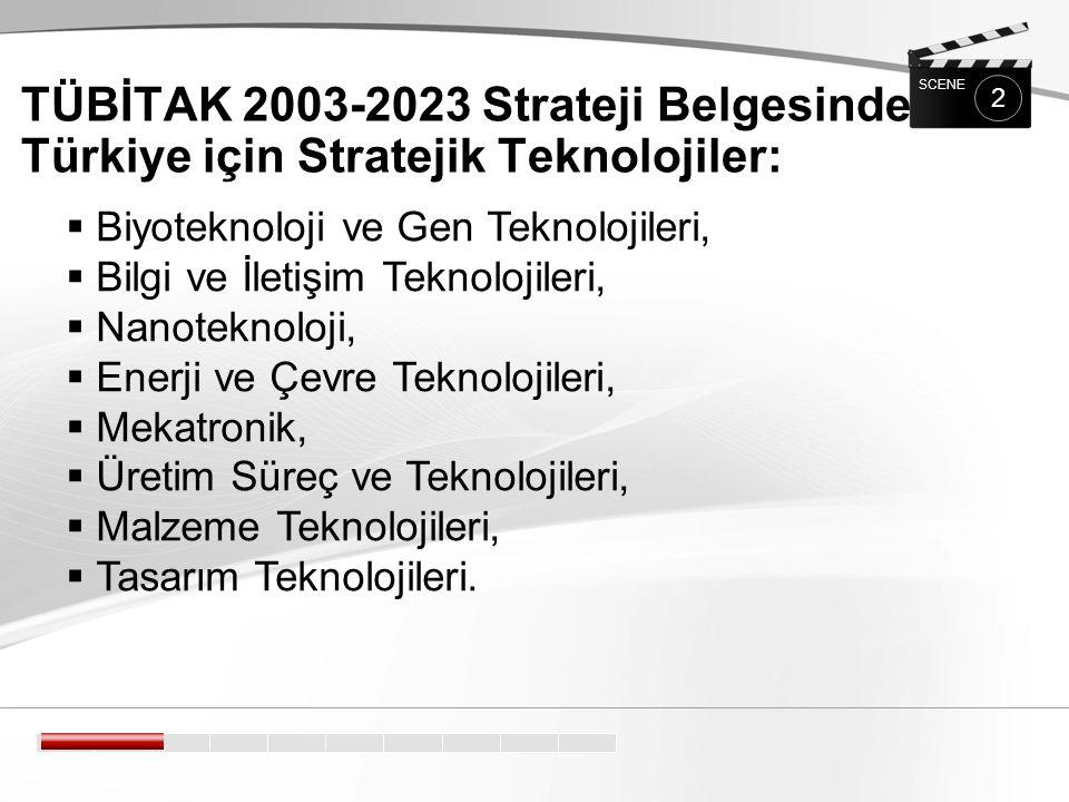 TÜBİTAK 2003-2023 Strateji Belgesinde Türkiye için Stratejik Teknolojiler: 2 SCENE  Biyoteknoloji ve Gen Teknolojileri,  Bilgi ve İletişim Teknolojileri,  Nanoteknoloji,  Enerji ve Çevre Teknolojileri,  Mekatronik,  Üretim Süreç ve Teknolojileri,  Malzeme Teknolojileri,  Tasarım Teknolojileri.