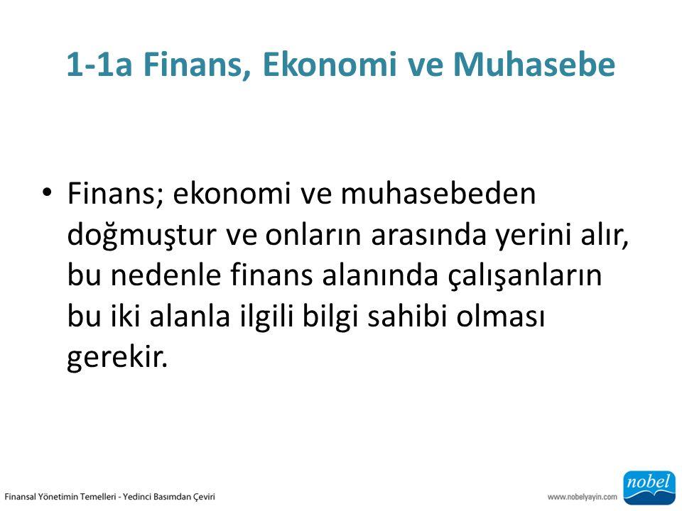1-1a Finans, Ekonomi ve Muhasebe Finans; ekonomi ve muhasebeden doğmuştur ve onların arasında yerini alır, bu nedenle finans alanında çalışanların bu