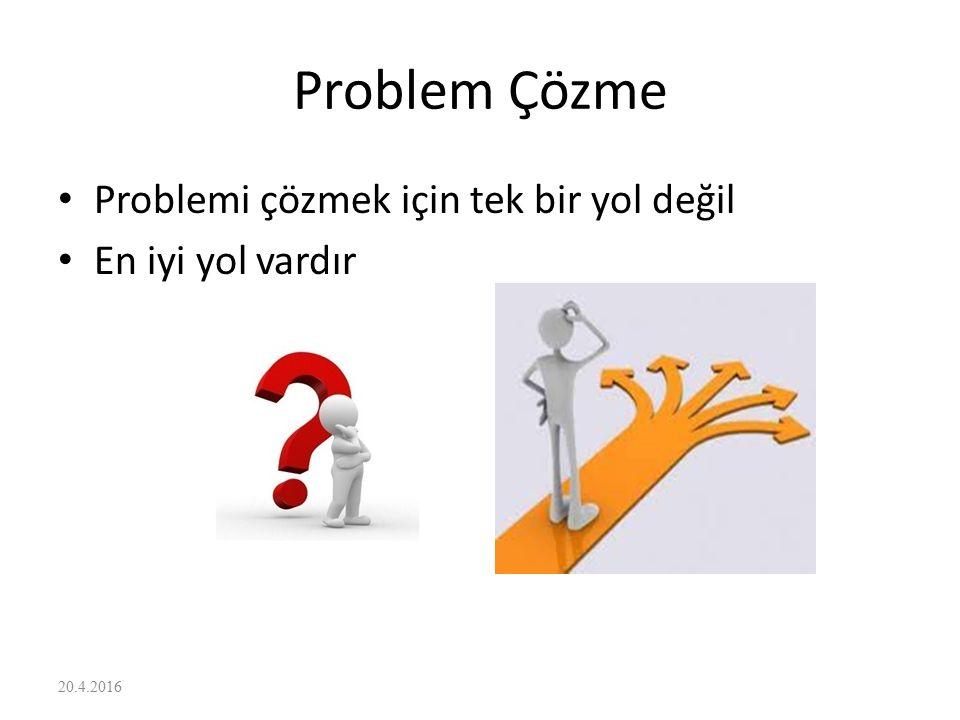 Problem Çözme Problemi çözmek için tek bir yol değil En iyi yol vardır 20.4.2016