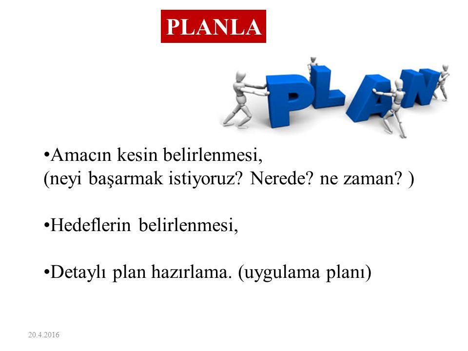 20.4.2016 PLANLA Amacın kesin belirlenmesi, (neyi başarmak istiyoruz? Nerede? ne zaman? ) Hedeflerin belirlenmesi, Detaylı plan hazırlama. (uygulama p