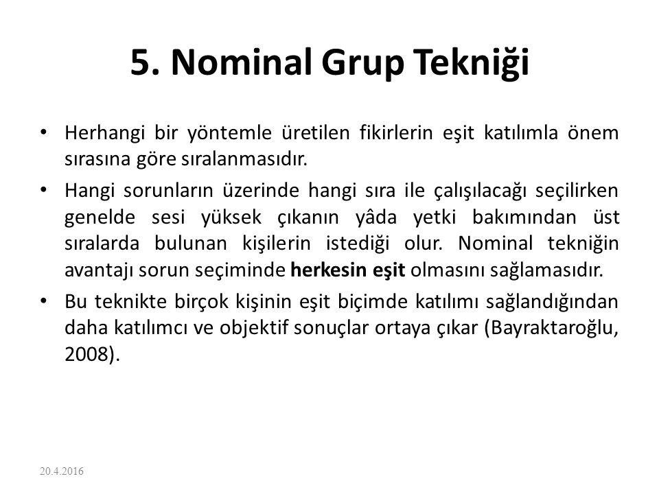 5. Nominal Grup Tekniği Herhangi bir yöntemle üretilen fikirlerin eşit katılımla önem sırasına göre sıralanmasıdır. Hangi sorunların üzerinde hangi sı