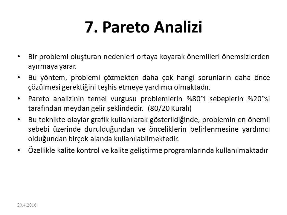 7. Pareto Analizi Bir problemi oluşturan nedenleri ortaya koyarak önemlileri önemsizlerden ayırmaya yarar. Bu yöntem, problemi çözmekten daha çok hang