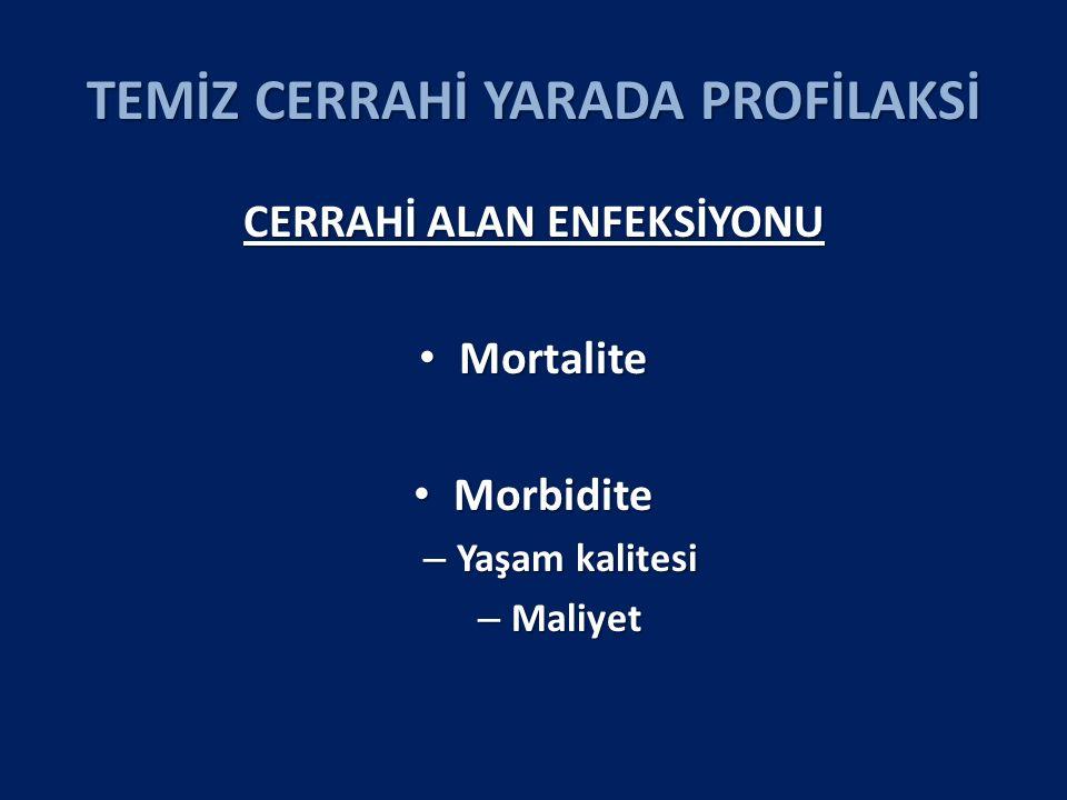 TEMİZ CERRAHİ YARADA PROFİLAKSİ CERRAHİ ALAN ENFEKSİYONU ORANI BMI >25 HASTALAR Profilaksi Kontrol RR (%95GA); p SSI Oranı 9 (4.8) 25 (13.7) 0.35 (0.17–0.73; p = 0.002) Tümü yüzeyel CAE Tümü BMI >30 hastalarda görüldü Tedavi Etmek İçin Gerekli Sayı 11 hastada profilaksi yapılınca 1 hastada CAE önlenmiş oluyor.