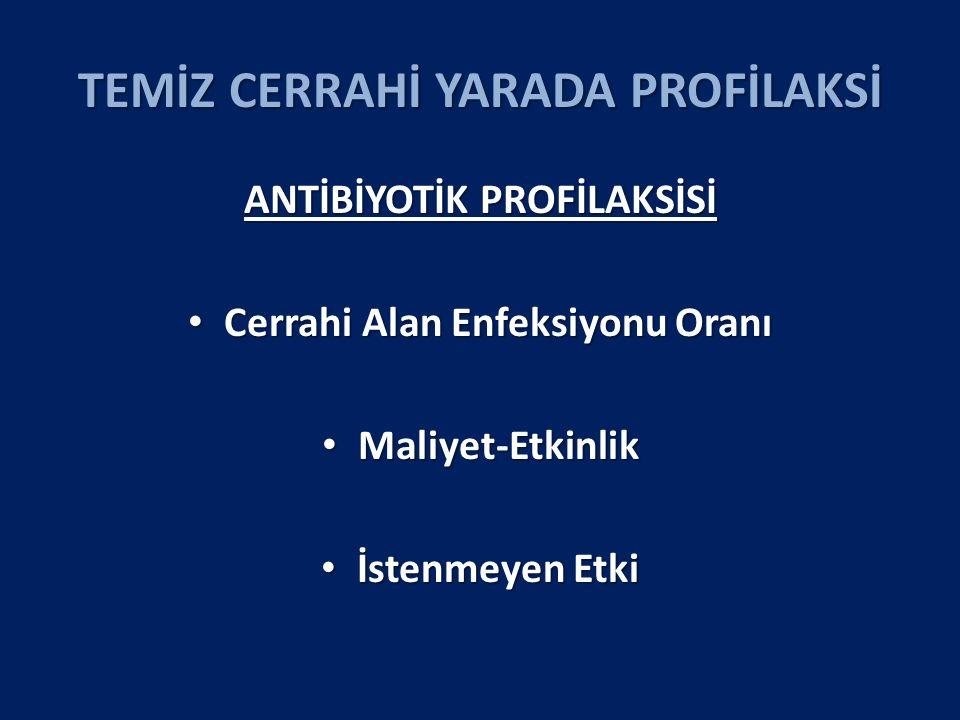 TEMİZ CERRAHİ YARADA PROFİLAKSİ ANTİBİYOTİK PROFİLAKSİSİ Cerrahi Alan Enfeksiyonu Oranı Cerrahi Alan Enfeksiyonu Oranı Maliyet-Etkinlik Maliyet-Etkinlik İstenmeyen Etki İstenmeyen Etki