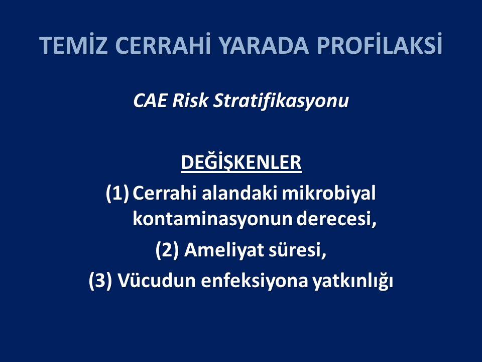 TEMİZ CERRAHİ YARADA PROFİLAKSİ CAE Risk Stratifikasyonu DEĞİŞKENLER (1)Cerrahi alandaki mikrobiyal kontaminasyonun derecesi, (2) Ameliyat süresi, (3) Vücudun enfeksiyona yatkınlığı