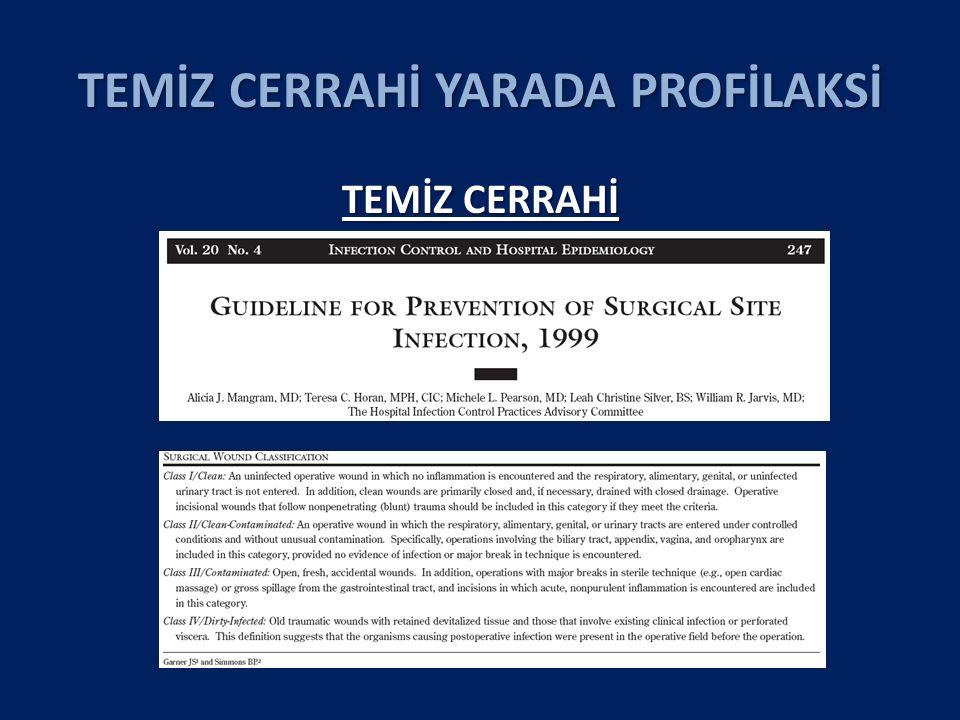 TEMİZ CERRAHİ YARADA PROFİLAKSİ 2012-2015HERNİOPLASTİ CAE Oranı CAE Oranı Yazar Yıl Hasta AB Kontrol Profilaksi Ullah B 2013 166 .