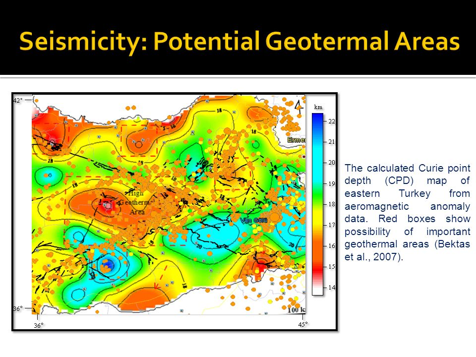 The calculated Curie point depth (CPD) map of eastern Turkey from aeromagnetic anomaly data. Red boxes show possibility of important geothermal areas