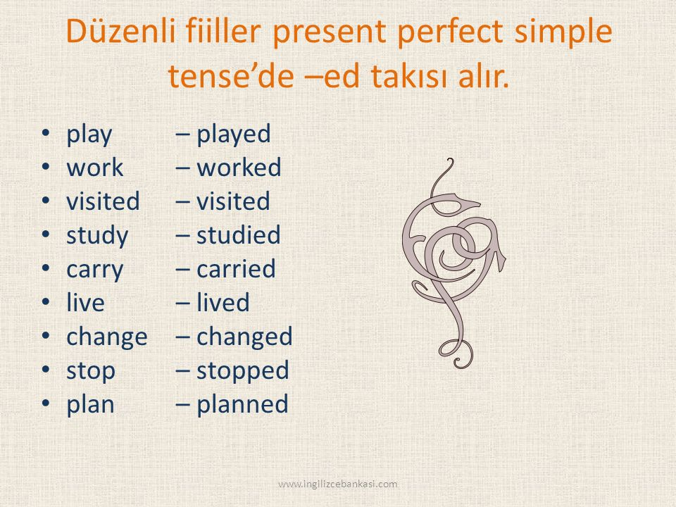 Düzenli fiiller present perfect simple tense'de –ed takısı alır. play – played work – worked visited – visited study – studied carry – carried live –