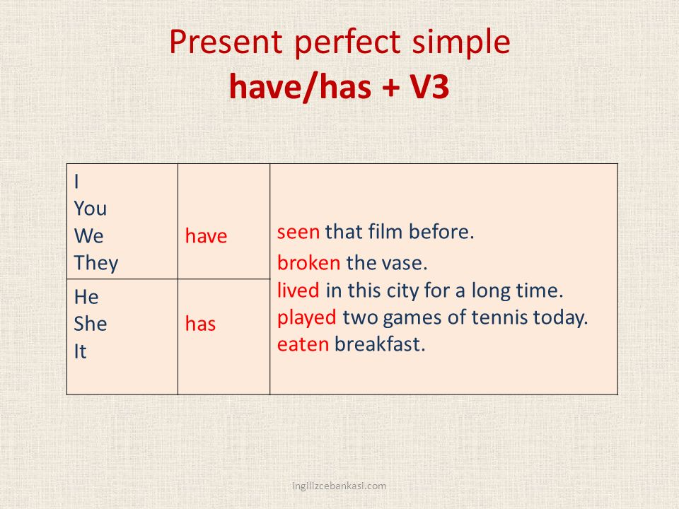 Present perfect simple have/has + V3 I You We They have seen that film before.
