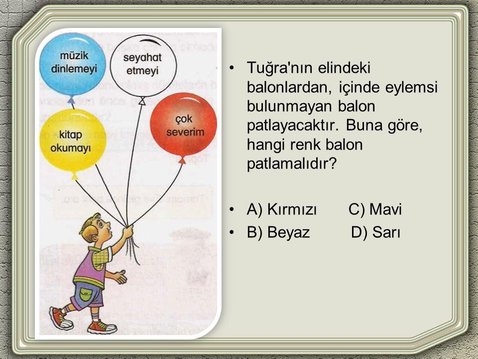 Tuğra'nın elindeki balonlardan, içinde eylemsi bulunmayan balon patlayacaktır. Buna göre, hangi renk balon patlamalıdır? A) Kırmızı C) Mavi B) Beyaz D