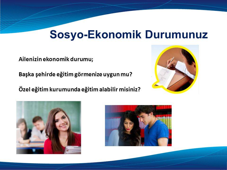 Ailenizin ekonomik durumu; Başka şehirde eğitim görmenize uygun mu.
