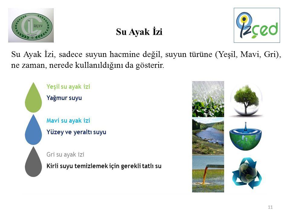 Su Ayak İzi, sadece suyun hacmine değil, suyun türüne (Yeşil, Mavi, Gri), ne zaman, nerede kullanıldığını da gösterir.