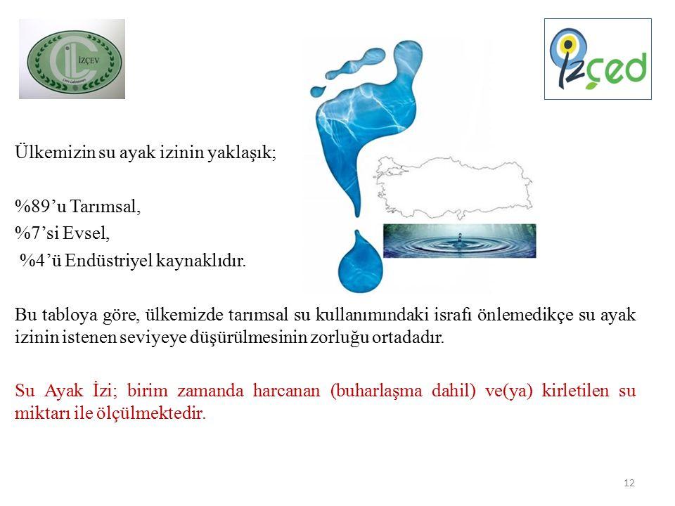 Ülkemizin su ayak izinin yaklaşık; %89'u Tarımsal, %7'si Evsel, %4'ü Endüstriyel kaynaklıdır.