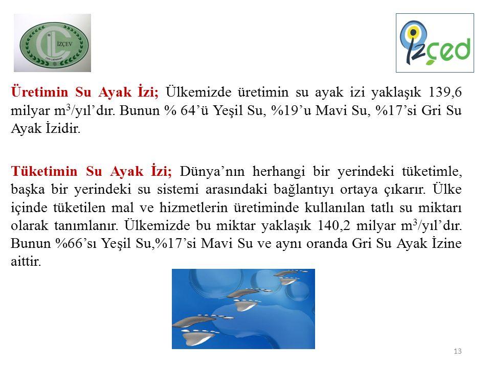 Üretimin Su Ayak İzi; Ülkemizde üretimin su ayak izi yaklaşık 139,6 milyar m 3 /yıl'dır.